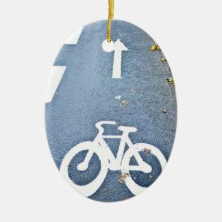 Bike Lane Stencil Ceramic Ornament