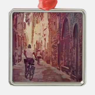 Bike Lucca Silver-Colored Square Ornament