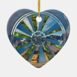 Bike Mandala Ceramic Heart Ornament