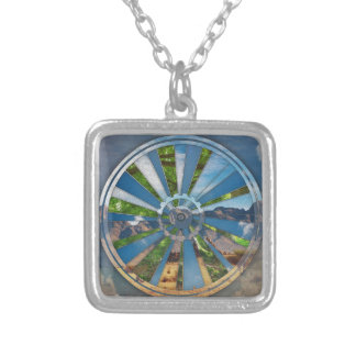Bike Mandala Silver Plated Necklace