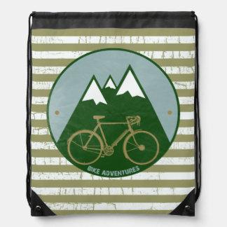 Bike mountain adventures drawstring bag