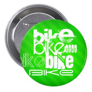 Bike; Neon Green Stripes 3 Inch Round Button