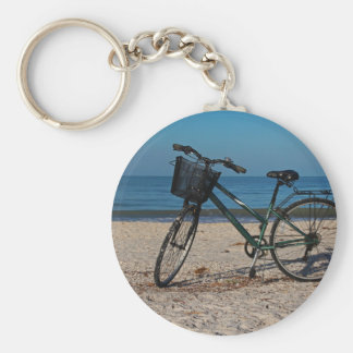 Bike on Barefoot Beach II Basic Round Button Keychain