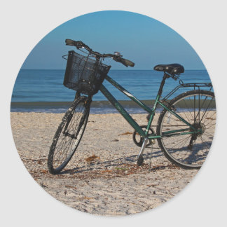 Bike on Barefoot Beach II Classic Round Sticker