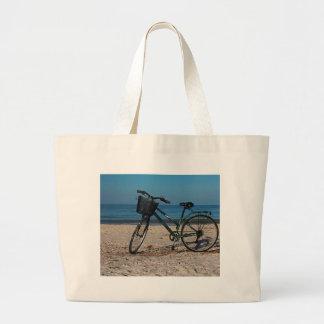 Bike on Barefoot Beach II Large Tote Bag