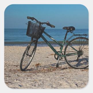 Bike on Barefoot Beach II Square Sticker