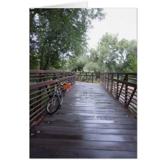 Bike on Rainy Bridge Greeting Card