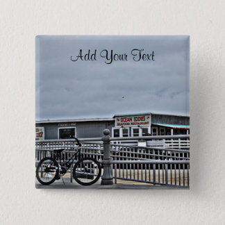 Bike On The Boardwalk by Shirley Taylor 2 Inch Square Button