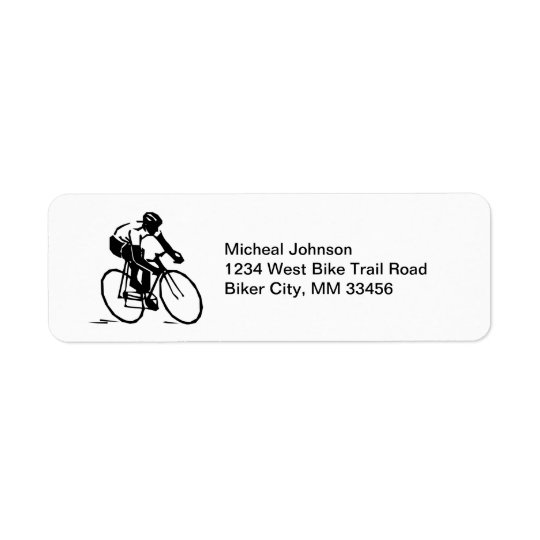 Bike Racer in Motion Bicycle Rider in Black White Return Address Label