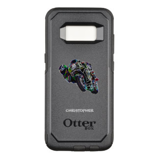 Bike Rider Glowing Motorcycle Circle Racing Sketch OtterBox Commuter Samsung Galaxy S8 Case