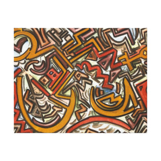 Bike Riding In Traffic-Abstract Geometric Canvas Print