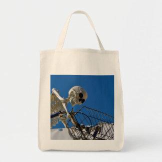 Bike Riding Skeleton Tote Bag