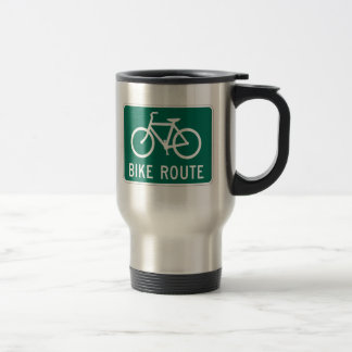 Bike Route Sign Travel Mug