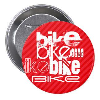 Bike; Scarlet Red Stripes. 3 Inch Round Button