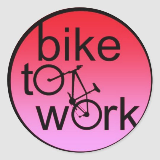 bike to work classic round sticker