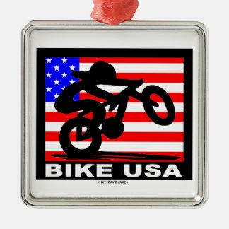 Bike USA Silver-Colored Square Ornament