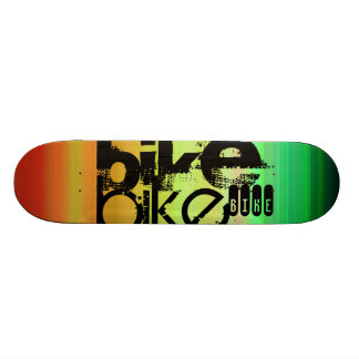 Bike; Vibrant Green, Orange, & Yellow Skateboard Deck