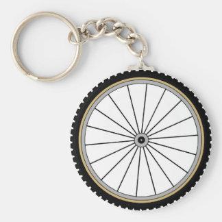 Bike Wheel Basic Round Button Keychain