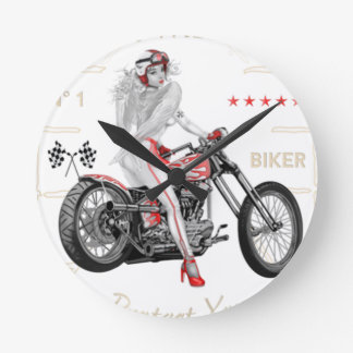 Biker Angel T-Shirt Round Clock