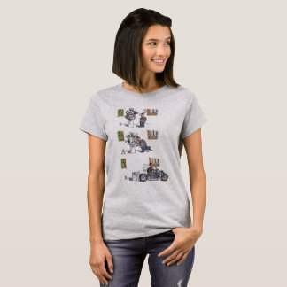 Biker At Museum women gray shirt
