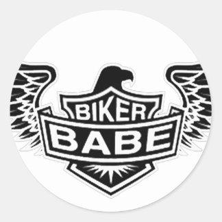 Biker Babe Classic Round Sticker