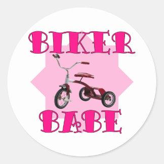 Biker Babe /pink Round Sticker