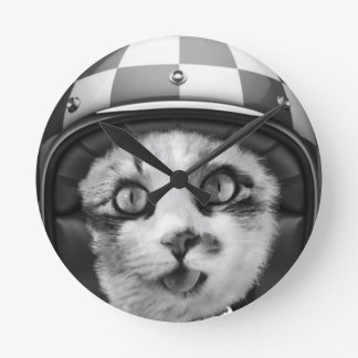 Biker cat T-Shirt Round Clock