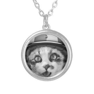 Biker cat T-Shirt Silver Plated Necklace
