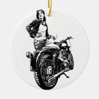 Biker Ceramic Ornament