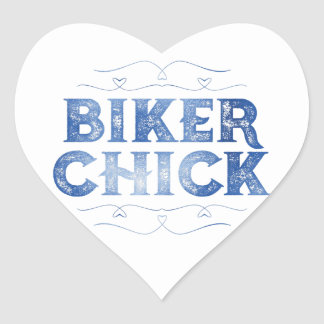 Biker Chick, Distressed Heart Sticker