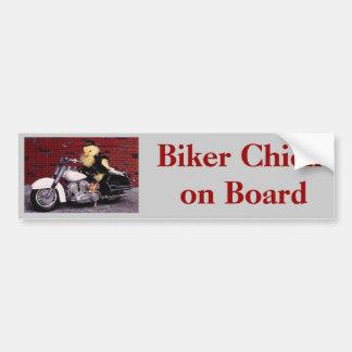Biker Chick on Board Bumper Sticker
