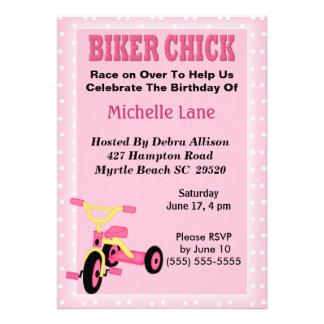 Biker Chick Tricycle Birthday Invitation