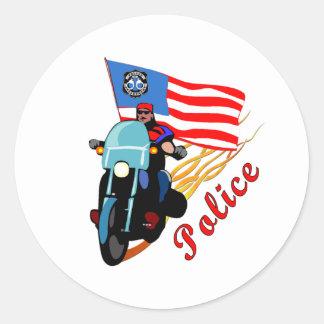 Biker Cops Round Sticker