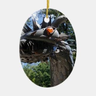 Biker Dragon Ceramic Oval Ornament