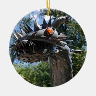 Biker Dragon Round Ceramic Ornament
