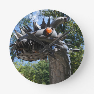 Biker Dragon Round Clock