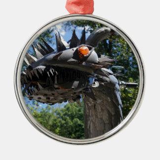 Biker Dragon Silver-Colored Round Ornament