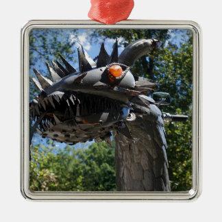 Biker Dragon Silver-Colored Square Ornament