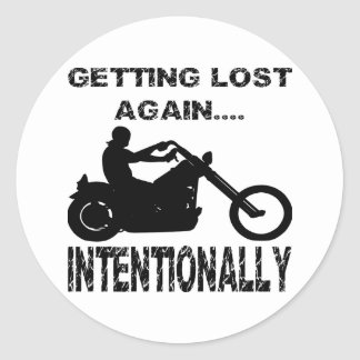 Biker Getting Lost Again Intentionally Classic Round Sticker