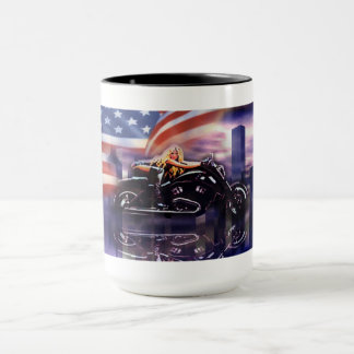 Biker Girl On Harley Davidson Motorcycle Mug