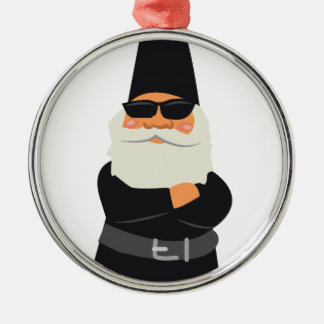 Biker Gnome Silver-Colored Round Ornament