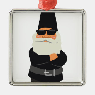 Biker Gnome Silver-Colored Square Ornament