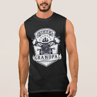 Biker Grandpa Badge Motorcycle Rider Sleeveless Shirt