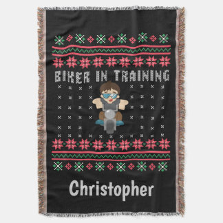 Biker In Training Ugly Christmas Sweater Throw Blanket