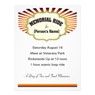 Biker Memorial Ride sunburst invitation flyer