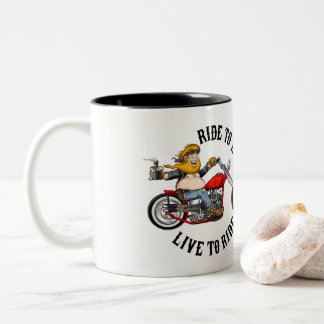 Biker motorcyclist Two-Tone coffee mug