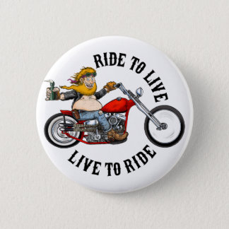 biker motorcyclist wrinkles to live 2 inch round button