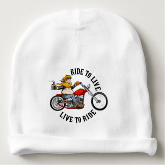 biker motorcyclist wrinkles to live baby beanie