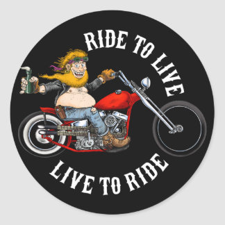 biker motorcyclist wrinkles to live classic round sticker