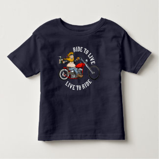 biker motorcyclist wrinkles to live toddler t-shirt